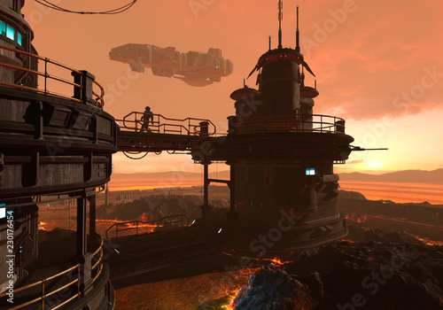 3D Illustration of a futuristic base on an alien planet - 230176454