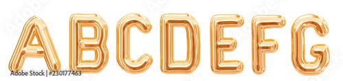 Alfabet złota folia, A, B, C, D, E, F, G na białym tle. 3d rendering