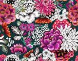 Seamless asian traditional patterns. Japanese painted flowers peonies, chrysanthemums, dahlias - 230188275
