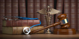 Gavel, stethoscope and caduceus sign on books background. Mediicine laws and legal, medical jurisprudence. - 230191603