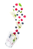 fresh berry and fruit drink concept on white background