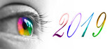 2019 and colorful rainbow eye header, 2019 new year greetings concept - 230210453