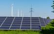 Leinwanddruck Bild - Wind turbines, electricity pylons and solar panels seen in Germany