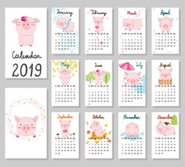 Hand drawing vector Calendar 2019 with pigs. Week starts from Sunday.