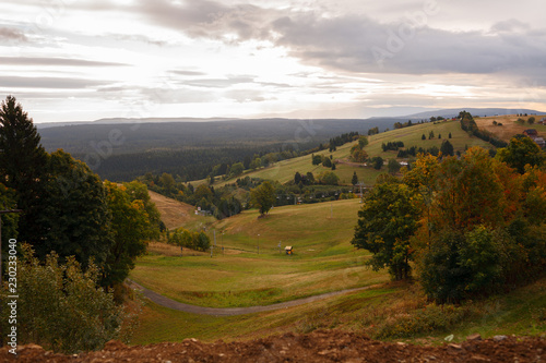 Poland. September 22, 2018. View of hills and forests. Ski resort. Cloudy weather. The surrounding area Zieleniec