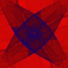 Immersion #6. Fractal composition on a red background.