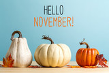 Hello November message with pumpkins on a blue background - 230236299