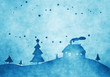 Leinwanddruck Bild - blue christmas background watercolors