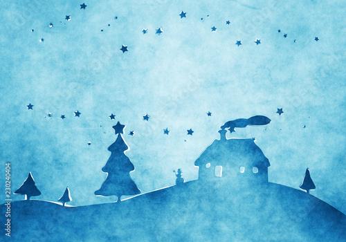 Leinwanddruck Bild blue christmas background watercolors