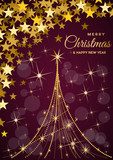 Christmas tree, vector postcard or greeting. Gold necklace, wealth and prosperity concept. - 230250017