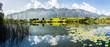 Leinwanddruck Bild - Stockhornkette und Amsoldingersee, Gürbetal, Kanton Bern, Panorama Berner Alpen, Schweiz