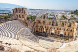 Panoramic view of the Odeon of Herodes Atticus at Acropolis of Athens from above, Greece