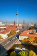 Smog over Berlin downtown on a bright day in Autumn, an aerial view