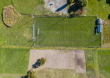 Aerial view of football pitch for soccer games in Switzerland in rural area