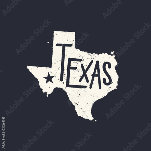 Textured map of Texas with Texas written on it and lone star vector illustration