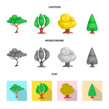Vector illustration of tree and nature symbol. Collection of tree and crown stock vector illustration. - 230264492