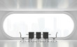 Leinwanddruck Bild - Modern white meeting room 3d render,There are white floor.Furnished with black furniture .There are arch windows look out to see the city view background.