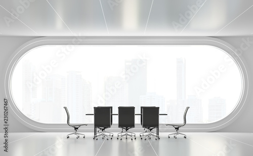 Leinwanddruck Bild Modern white meeting room 3d render,There are white floor.Furnished with black furniture .There are arch windows look out to see the city view background.