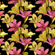 Lilies on vintage seamless pattern. - 230268294