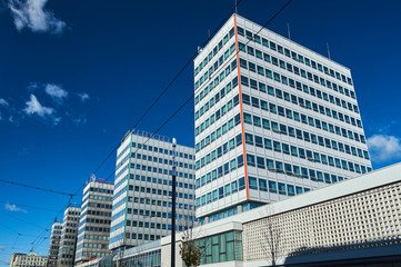 Street with modern office buildings in Poznan.