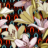 Lilies on vintage seamless pattern.