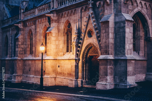 Side entrance of Mathias church in Budapest, castle district - 230271877