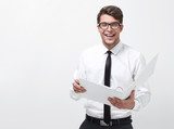 young businessman with a clipboard - 230276820