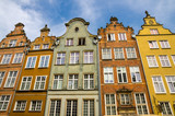 Facade of beautiful typical colorful buildings, Gdansk, Poland