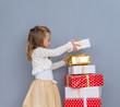Leinwanddruck Bild - girl awaiting christmastime