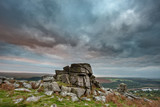 Stunning Autumn sunset landscape image of view from Leather Tor in Dartmoor National Park