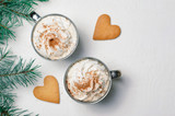 Hot Drink with Whipped Cream and Heart Shaped Cookies, Romantic Winter Concept - 230287039