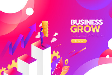Businessman looking for investment opportunity standing on money growth graph. Profit Stock Market. Investor business concept. Vector flat cartoon illustration flat design