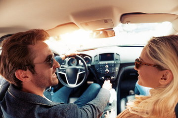 Enjoying road trip together