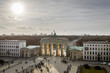 The 18th-century neoclassical monument, the Brandenburg Gate (German: Brandenburger Tor) viewed atop the Pariser Platz. Located in Berlin, it is one of the best-known landmarks of Germany.