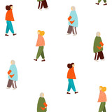 Seamless pattern with walking women. Vector hand drawn illustration. - 230296419