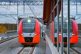 Highspeed train moves toward the railway station.