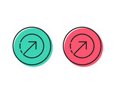 Direction arrow line icon. Arrowhead symbol. Navigation pointer sign. Positive and negative circle buttons concept. Good or bad symbols. Direction Vector - 230298085
