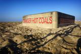 fire pit on beach sand - 230298229