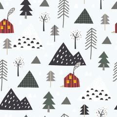 Snowy mountain seamless pattern. Perfect for cards, invitations, wallpaper, banners, kindergarten, baby shower, children room decoration. Scandinavian landscape.