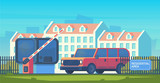 Entry through the barrier which is raised to pass the car. Toll gate with reception booth. Checkpoint to residential area. Vector flat style illustration. - 230304414