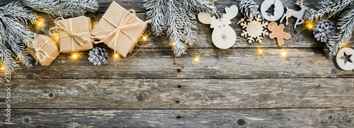 christmas wooden natural decoration ornament wide horizontal banner with copyspace - 230319027