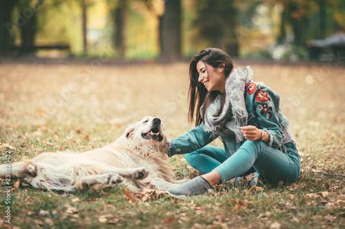 Enjoying With Loving Dog