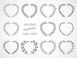 Vector set of floral hand drawn frames in the shape of a heart.  - 230334653