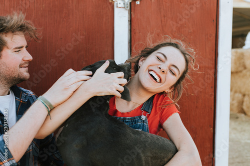 Happy dog greeting his owners