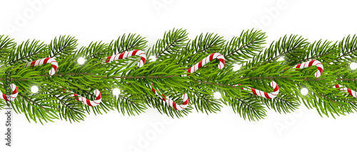 obraz PCV Seamless border with Christmas tree and candy canes