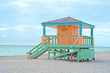 Leinwandbild Motiv Lifeguard Tower in Miami