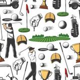 Golf sport game seamless pattern background