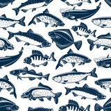 Sea and ocean fishes seamless pattern background - 230356212