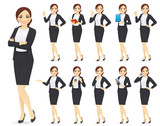Businesswoman character in different poses set vector illustration - 230357894