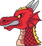 Angry dragon head mascot - 230363645
